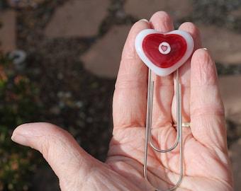 Bookmark-fused glass-heart-bookmark-dichroic glass-dichroic glass bookmark-bookworm-book worm