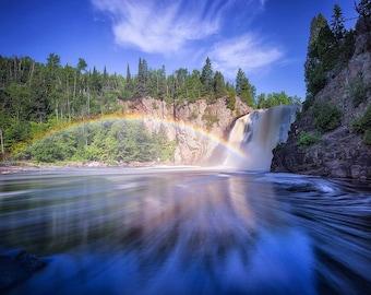 High Falls Kaleidoscope, Waterfall, Rainbow, Baptism River, Tettegouche State Park, Minnesota - Travel Photography, Print, Wall Art
