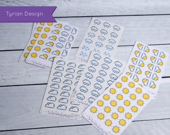 Weather Stickers for Planners and Journals. Hand Drawn weather stickers.Variety sheets or all a like, clear or white matte stickers