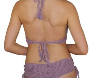 Crochet cheeky boyshort bikini bottom- cotton swim