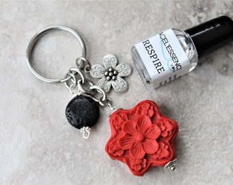 DIFFUSER KEYCHAIN cinnabar diffuser with oil, gift set, red charm keychain diffuser, aromatherapy, gift for her, gift for graduation