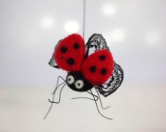 Needle Felted Ladybug - Needle Felt Animals - Ladybird Ornament - Spring Home Decor - Red - Wool - Handmade - Gift Idea - Fiber Art Doll
