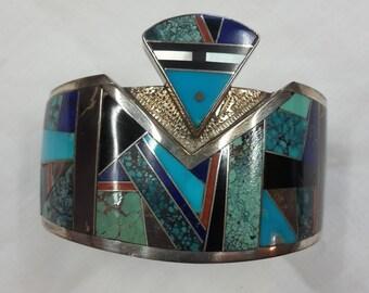 "Bracelet Cuff Navajo ""Birdman"" inlaid stones and sterling"