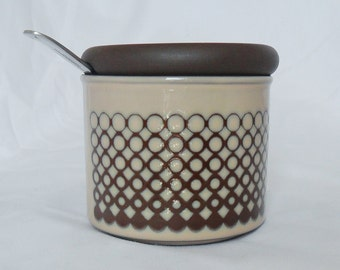 Hornsea Pottery Jam Marmalade Pot Coral Pattern Vintage Container Retro Tablewear 1980 Geometric Brown