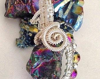 Rainbows Titanium Quartz Rainbow Hematite Wire Wrap Crystal Pendant