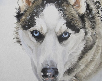 Custom Pet Portraits, favorite animals, original watercolor portrait pets to order, Huskies