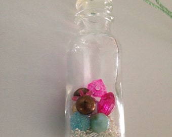 Vintage Bottle Necklace; Green Hemp Cord Necklace; Pink and Mint Green Beads in a Bottle; Girlfriend Gift, Miniature Bottle Jewelry