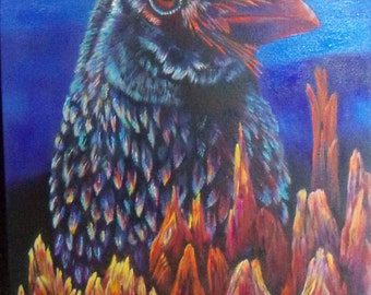 Raven wood original art acrylic painting wall decor raven crow transformed to driftwood 18x30 gallery wrap