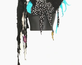 Glint Eco-Scarf, Black and Creme  , Turquoise ,OOAK, Sculpted, Recycled