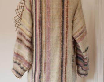 Handmade Boho coat wool woven color pastel vintage /36_38 en handmade free shipping
