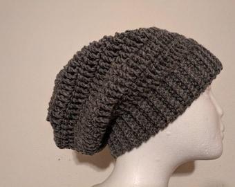slouchy beanie hat men's crochet Grey
