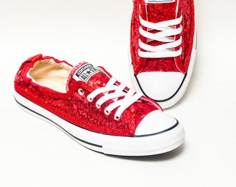 Tiny Sequin - Starlight Red Sparkly Canvas Shoreline Converse Slip On Sneakers Shoes