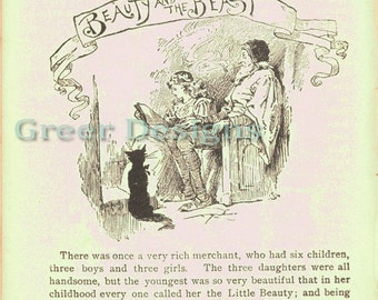 Antique Book Page Beauty and the Beast Digital Download