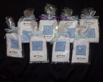 Blue Monogrammed Bibs and Burp Cloths - Bibs and Burp Cloths in Blue Letters A - B - C - D - Ready to Ship