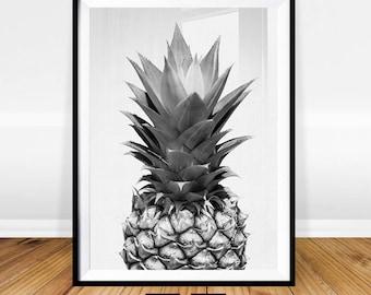 Pineapple Print, Pineapple Wall Art, Black and White Art, Pineapple Art, Tropical Decor, Digital Print, Instant Download, Pineapple Poster