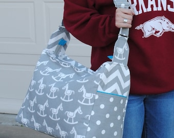 Gray Rocking Horse Diaper Bag Extra Large