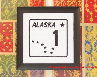 Alaska Highway Road Sign Cross Stitch Kit