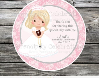 First Communion, Confirmation, Religious, Set of 12 Personalized Favor Tags, Stickers, Thank You Tag, Party Favors, Pink Lace, Grey