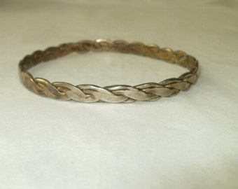 Sterling Silver Mexican Bracelet Woven Braided Signed