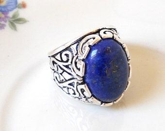blue lapis lazuli ring boho ring lapis lazuli ring silvertone ring lapis ring gemstone ring cottage chic adjustable bue ring