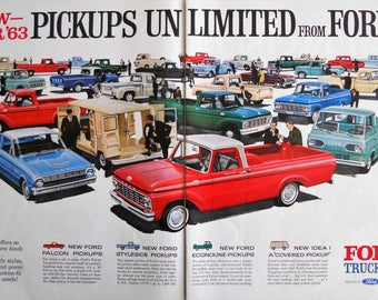 1963 Ford Truck ad. Vintage 1963 Ford Truck ad.  1963 Ford Econoline ad.  Ford Falcon Pickup. Life Magazine.  October 19, 1963.