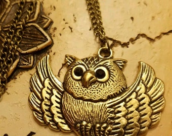 Owl Necklace,  Pendant,  Charm,  Silvertone