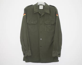 Vintage 80s H Winnen Germany Green Military Polyester Long Sleeve Shirt