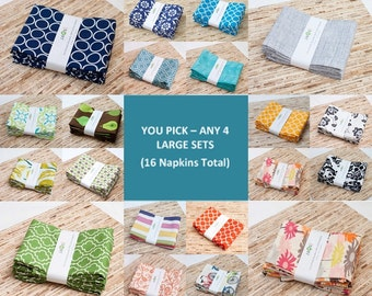 You Pick and Choose Any 4 Packs of Eco-Friendly Cotton Cloth Reusable Large Napkins - Bulk Family Pack - Refill or Starter Value Pack