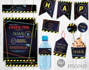 Laser Tag Party Package Invitations Birthday Lazer Invitations Decorations Full Printable Collection INSTANT DOWNLOAD Editable Personalize