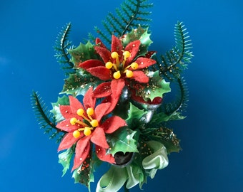 1950's Old Hollywood Glam Christmas Party Corsage With Poinsettias