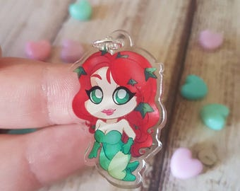 """Poison Ivy / Geeky Clear 1.5 """" Acrylic Charm with Phone Strap / Gift / Nerd / Geek / Video Game / DC Comics"""