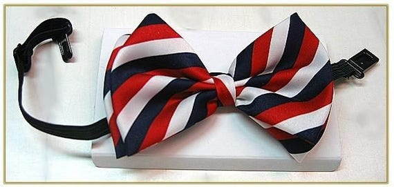 Victorian Mens Ties, Ascot, Cravat, Bow Tie, Necktie Mens Red White and Blue Stripe Bow Tie $17.00 AT vintagedancer.com