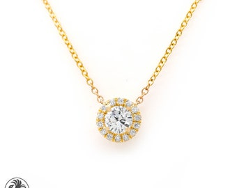Diamond Necklace, Round Diamond pendant With Halo, 14kt Yellow Gold Necklace, Diamond Necklace with Attached Chain | NEC02115