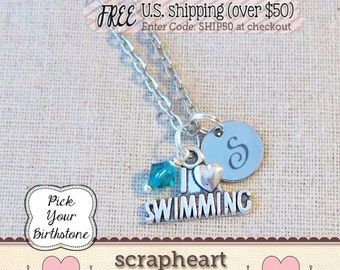 Gift for Swimmer, I LOVE SWIMMING Charm Necklace, Swimmer Initial Necklace, Swim Team Mom Coach Necklace Gift, Varsity Swim Swimmer Jewelry