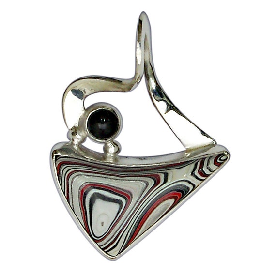 Fordite, Black Onyx and Sterling Silver Pendant, Hand Crafted, One of a Kind pfrdh3032