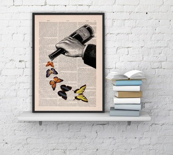 Butterflies and Wine bottle Art Prints Digital Illustration Drawing Poster Digital Print Wall Art Hanging gift BFL087