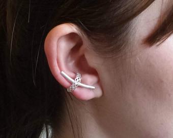 Silver ear cuff, celtic knot, ear cuffs, ear cuff earrings, sterling silver ear cuffs