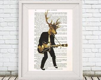 Deer print, deer art, deer wall art, deer head print, deer antler, moose print, rock and roll, art deer print, deer head, rock deer