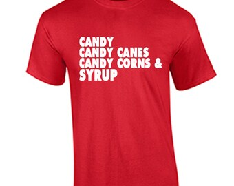 Candy Candy Canes Christmas Shirt Holiday Christmas T-Shirt Elf Movie Will Ferrell Four Main Food Groups Funny Christmas T Shirt