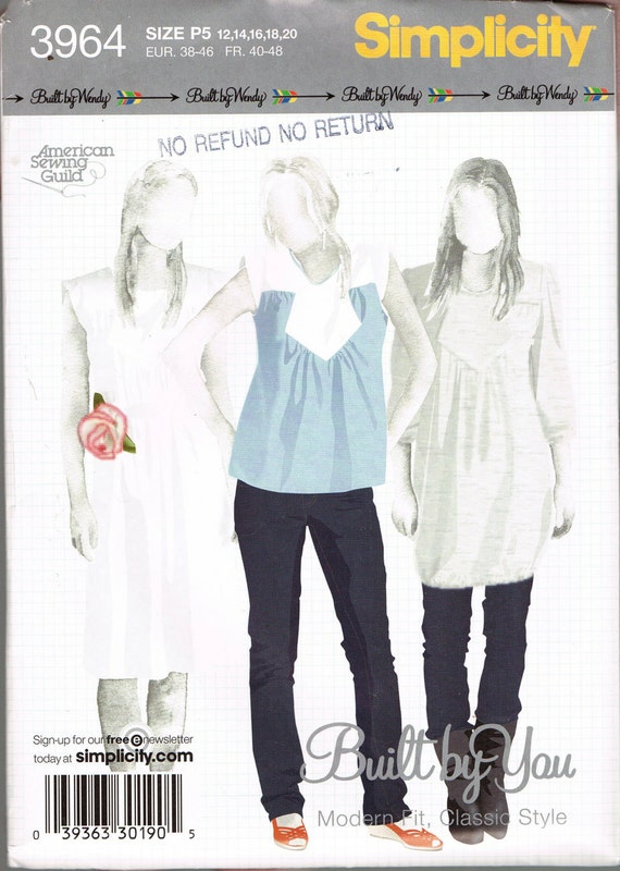 Size 12-20 Misses\' Sewing Pattern Built By Wendy Cap
