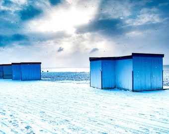 Worthing beach huts in the snow Photo / Poster / Canvas Colour