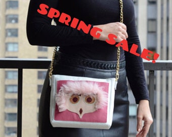SALE! - Owl Crossbody Bag, Animal Crossbody Bag, White Leather Cross-body, White Leather Handbag, Chain Strap Crossbody, Shearling Handbag