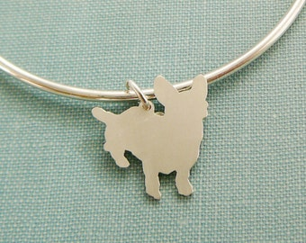 Cardigan Welsh Corgi Dog Bangle Bracelet, Sterling Silver Personalize Pendant, Breed Silhouette Charm, Rescue Shelter, Mothers Day Gift