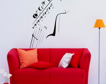 Guitar Neck Wall Decal Wall Vinyl Sticker Musical Instrument Home Interior Removable Bedroom Decor (7gtr)