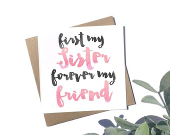 First My Sister Forever My Friend Card - Sister Card - Sister Birthday Card
