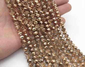 8x6mm Faceted Champagne Glass Beads, Glass Rondelle Beads