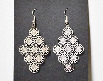 Laser-cut Silver Pendant earrings