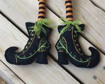 Embroidered Halloween witch boots & legs