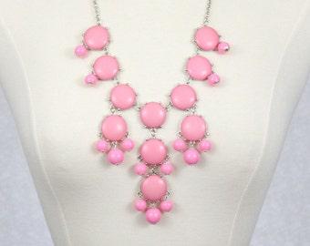 Pink Bubble Necklace Statement Necklace Bib Necklace Pastel Pink Chunky Necklace