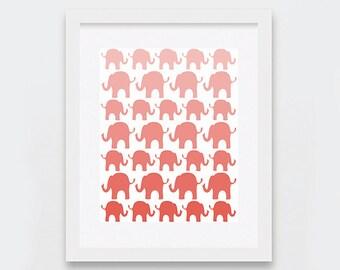 Peach Elephants Digital Print, Elephants Nursery Decor, Baby Room Decor, Baby Peach Ombre Nursery Art Printable, Coral Instant Art Print